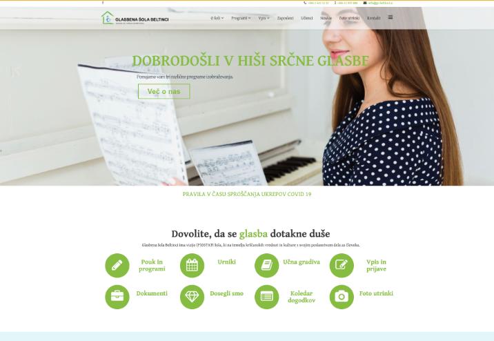 Spletna stran Glasbene šole Beltinci