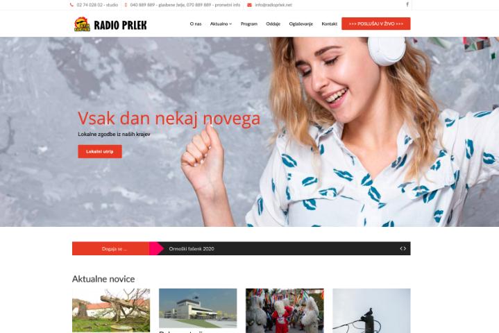 Spletna stran Radio Prlek