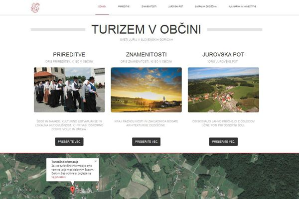 Spletna stran Turizem v občini