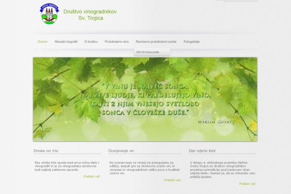 Spletna stran in facebook stran Društva vinogradnikov Sveta Trojica